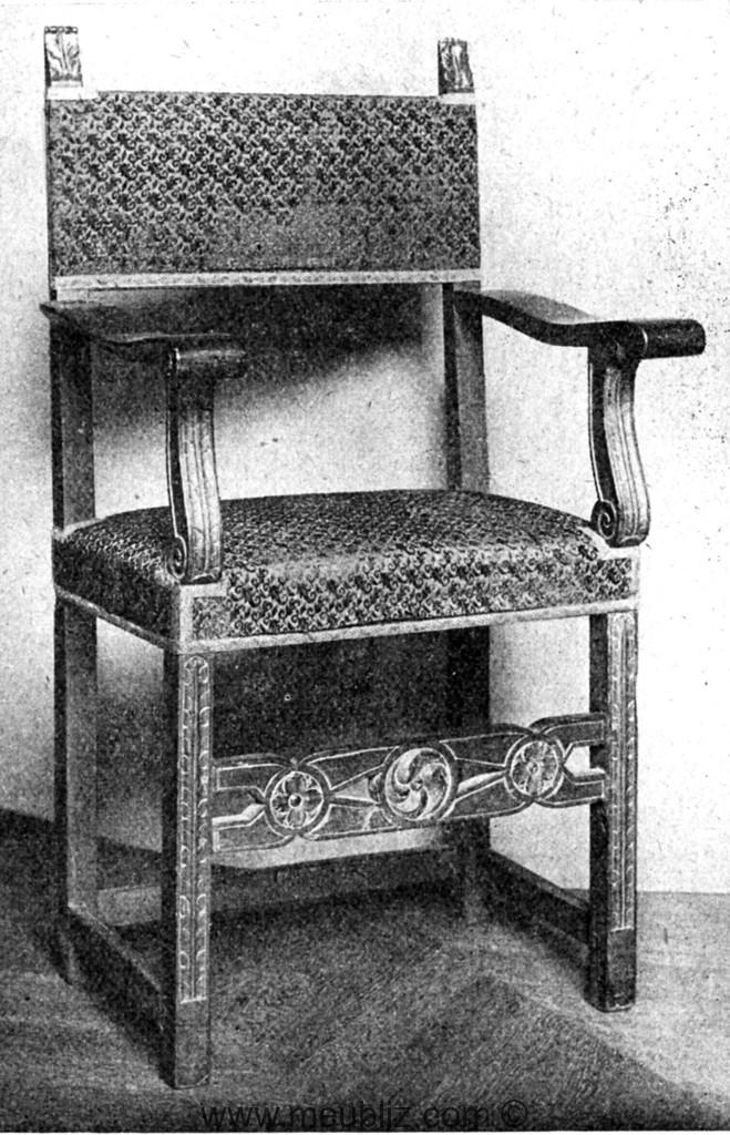 fauteuil louis xiii accoudoir droits et dossier petit cadre meuble de style. Black Bedroom Furniture Sets. Home Design Ideas