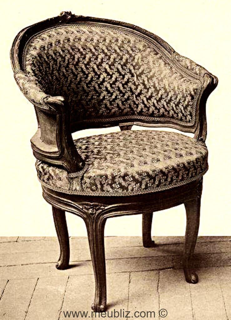fauteuil de bureau gondole louis xv garni meuble de style. Black Bedroom Furniture Sets. Home Design Ideas