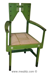chaise de salon silex verte par Gustave Serrurier Bovy
