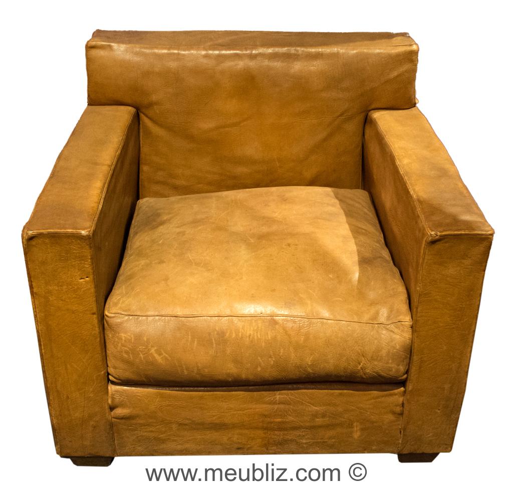 Fauteuil Club A Restaurer fauteuil club carré - par jean-michel frank - meuble design