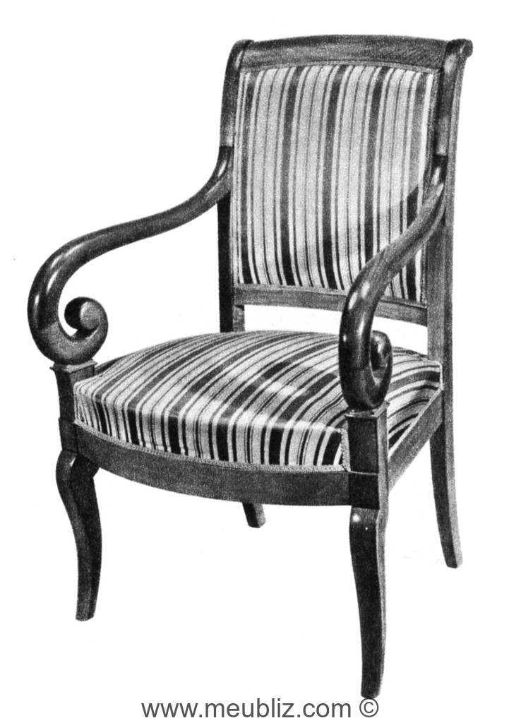 fauteuil restauration louis philippe bras en crosse et pieds en jarret meuble de style. Black Bedroom Furniture Sets. Home Design Ideas