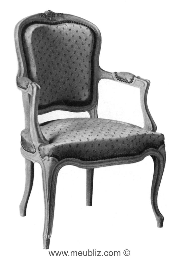 fauteuil cabriolet louis xv dossier violon au sommet cintr meuble de style. Black Bedroom Furniture Sets. Home Design Ideas