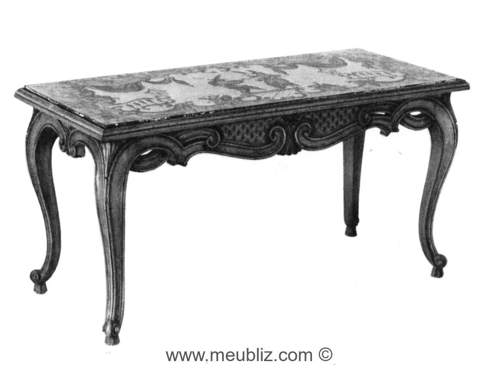 Table Basse Louis Xv A Plateau Rectangulaire En Marbre Meuble De Style