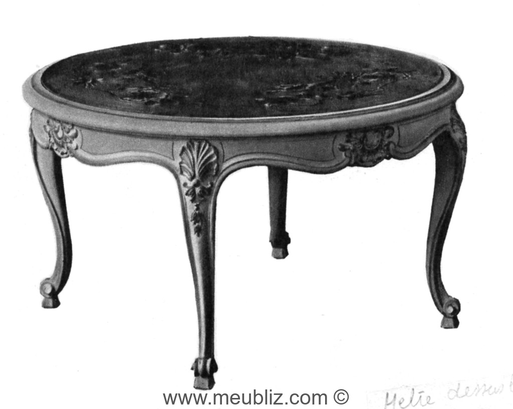 table basse louis xv plateau de marbre rond et pieds de. Black Bedroom Furniture Sets. Home Design Ideas