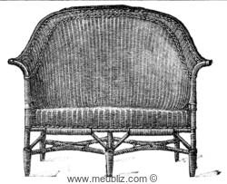 Canapé deux places en rotin à haut dossier gondole tressé