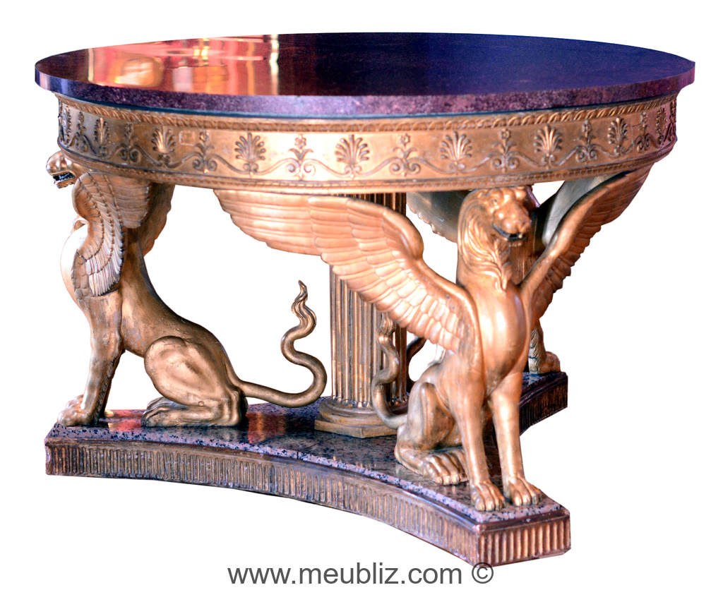 grande table ronde empire pieds d 39 animal ail meuble de style. Black Bedroom Furniture Sets. Home Design Ideas