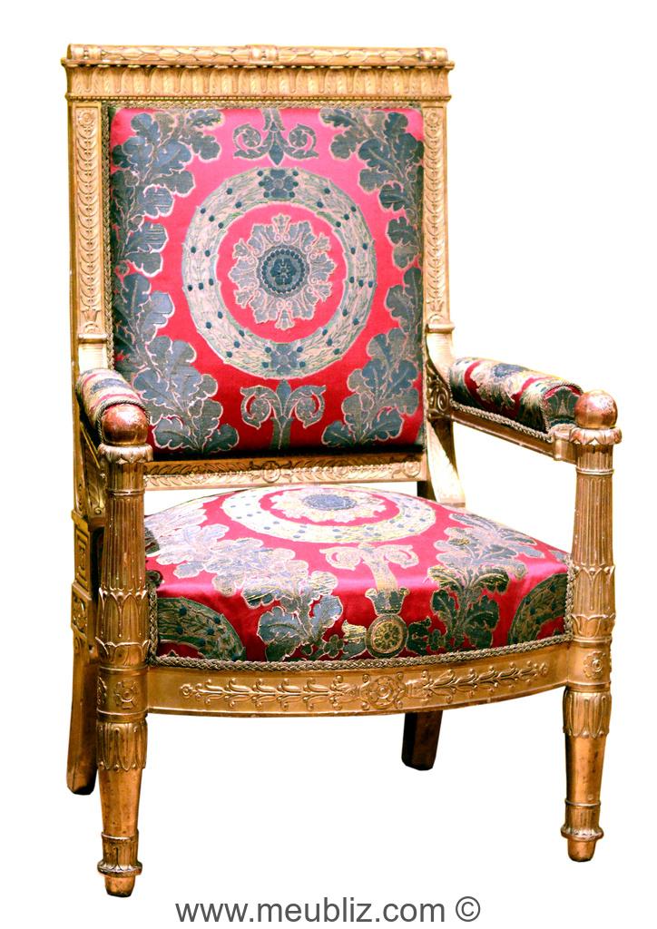 fauteuil empire pieds avant en fuseaux termin s en boule meuble de style. Black Bedroom Furniture Sets. Home Design Ideas
