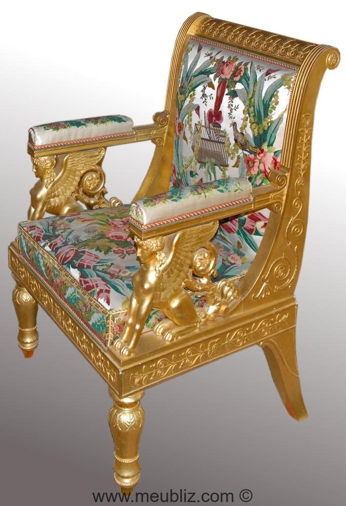 fauteuil empire dossier en crosse et support d 39 accotoir l 39 antique meuble de style. Black Bedroom Furniture Sets. Home Design Ideas