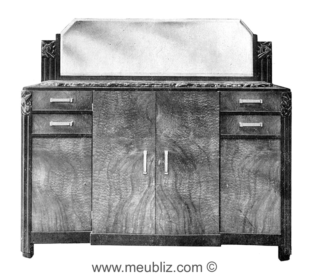 Buffet 4 Portes Art Deco En Bois De Placage Sur Pieds Bas Meuble