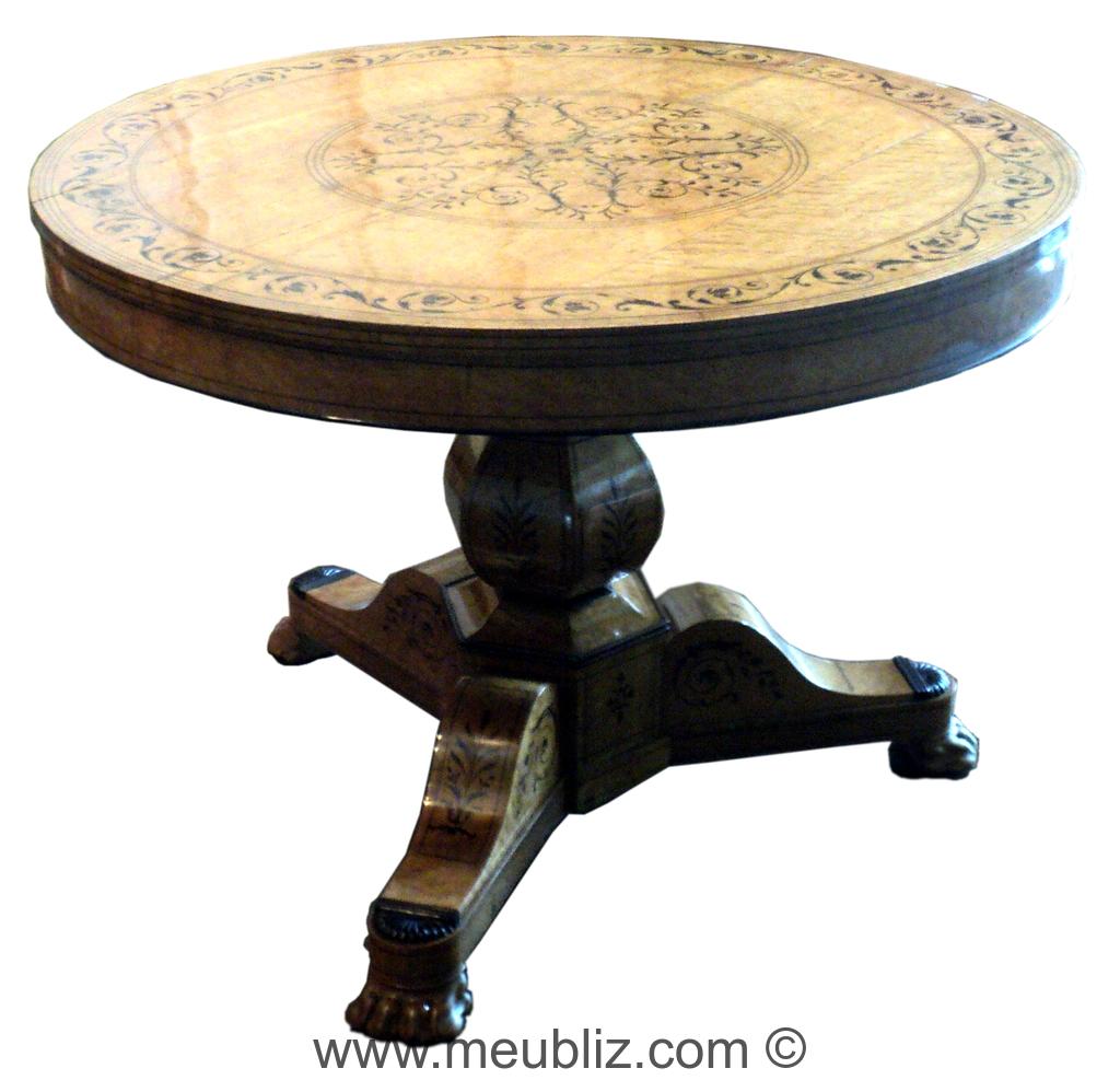 table ronde charles x sur tr pied meuble de style. Black Bedroom Furniture Sets. Home Design Ideas