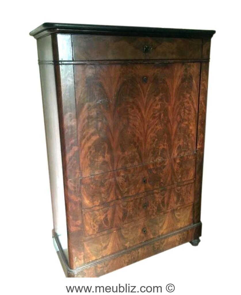 Secr taire haut louis philippe abattant et tiroirs en partie basse meuble de style - Commode secretaire louis philippe ...