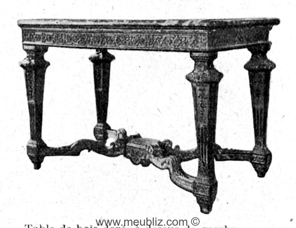 table louis xiv marbre quatre pieds en gaine et croisillon d 39 entrejambe meuble de style. Black Bedroom Furniture Sets. Home Design Ideas