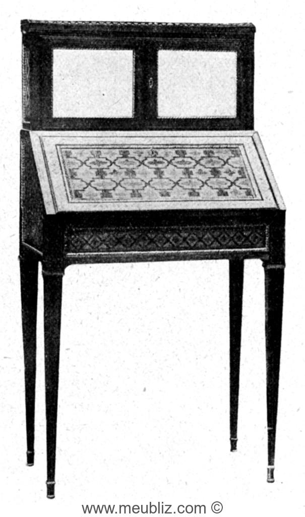 Bonheur du jour louis xvi pente meuble de style for Meuble bonheur du jour ancien