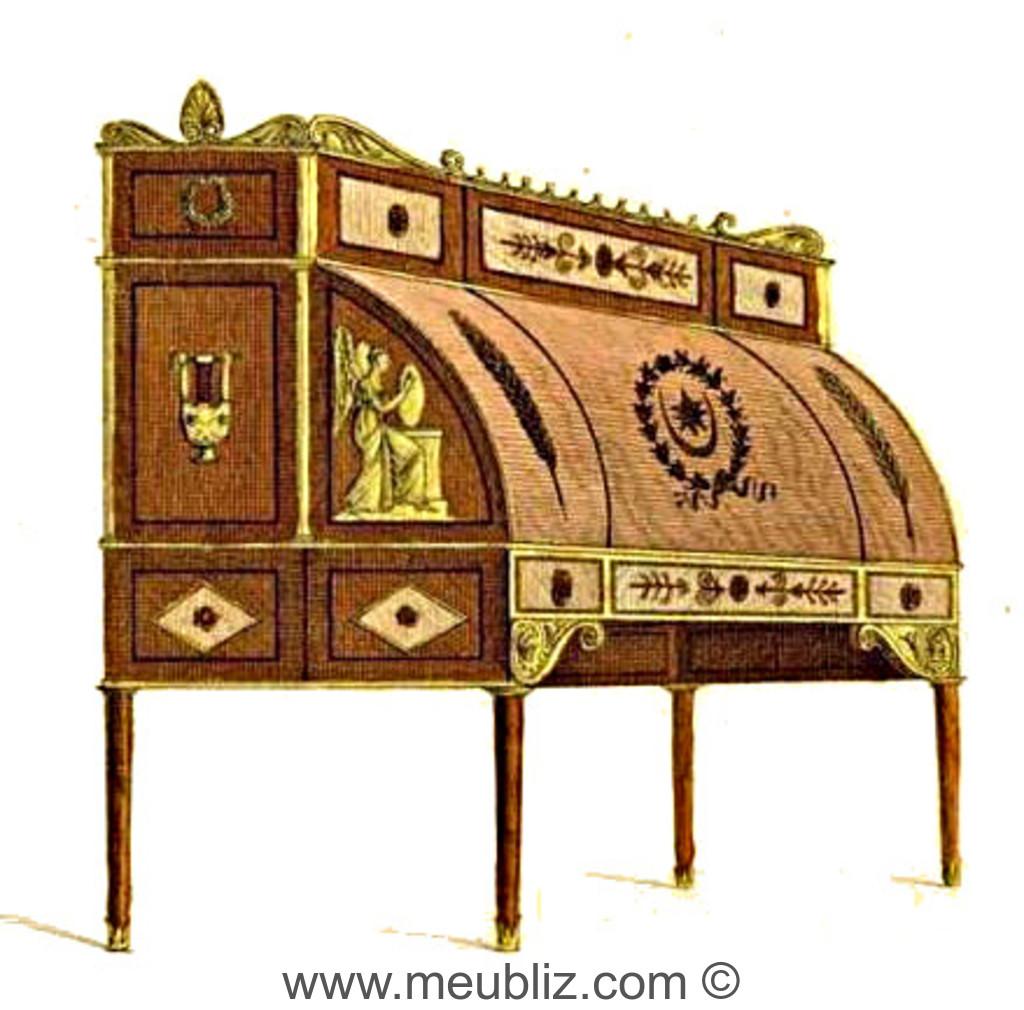 Bureau Directoire à cylindre et tiroirs en gradin - Meuble de style