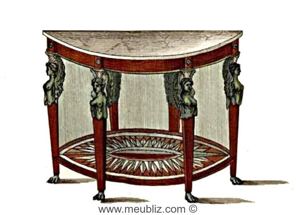 table console demi lune empire retour d 39 egypte meuble de style. Black Bedroom Furniture Sets. Home Design Ideas