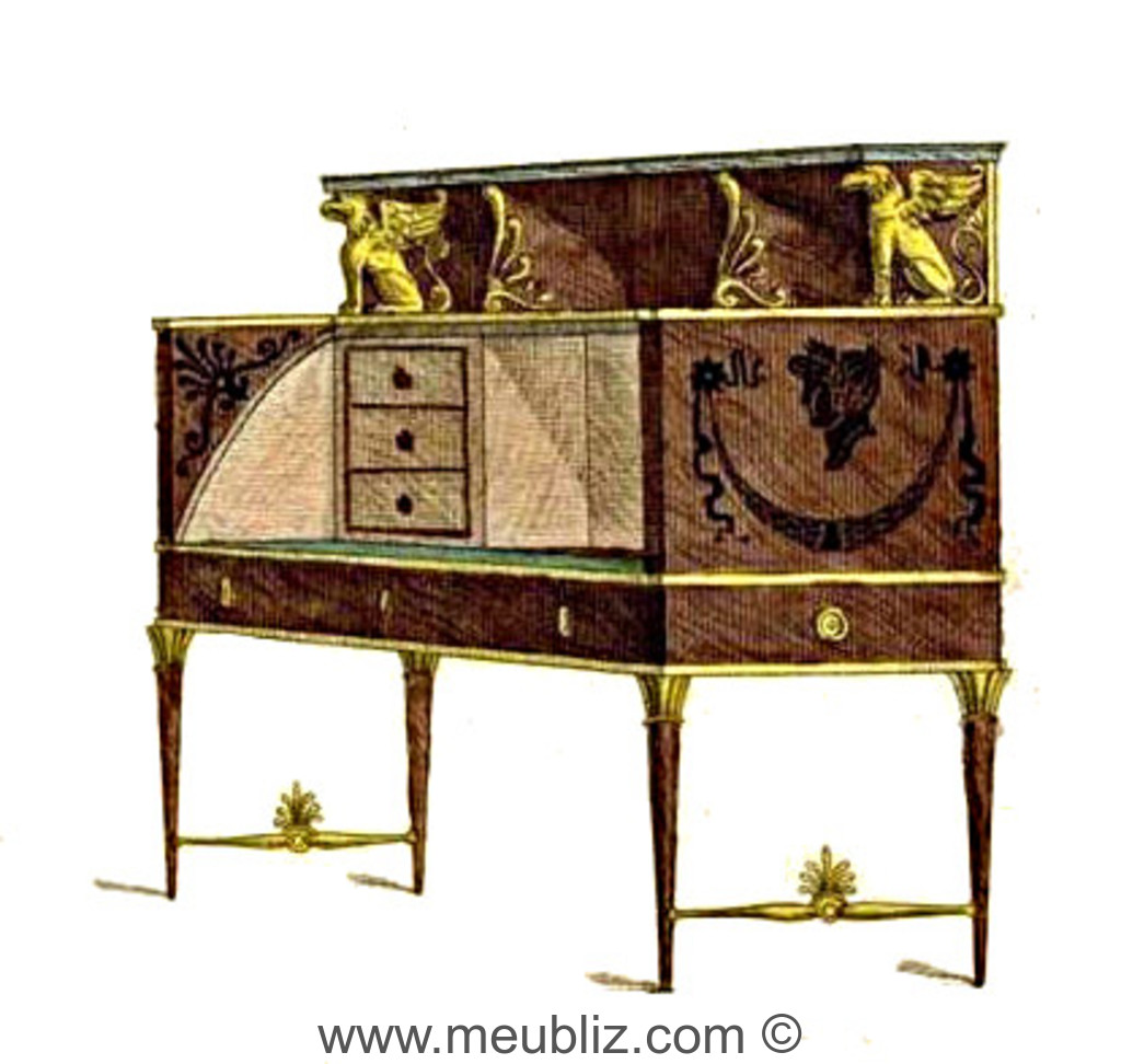 bureau directoire cylindre et tiroirs en gradin meuble de style. Black Bedroom Furniture Sets. Home Design Ideas