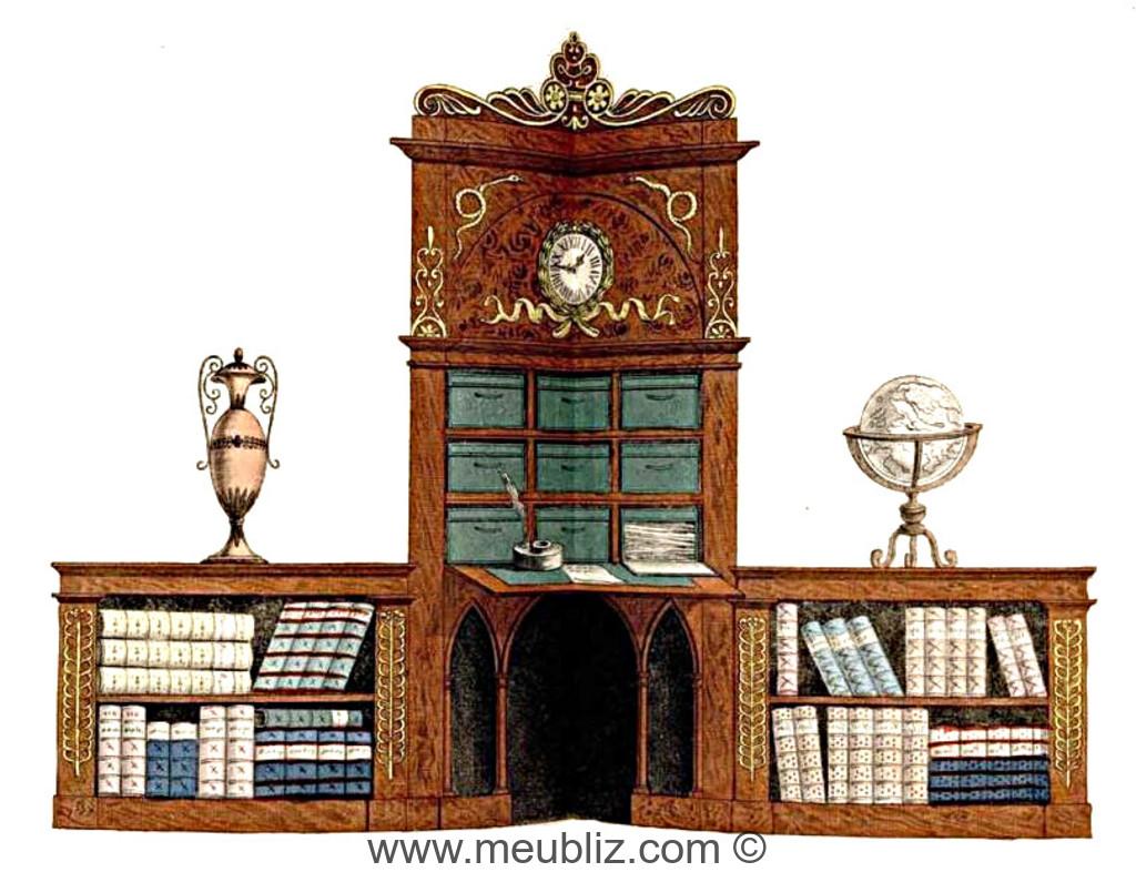 Grand Secretaire Bibliotheque Empire A Abattant Et Cartonnier