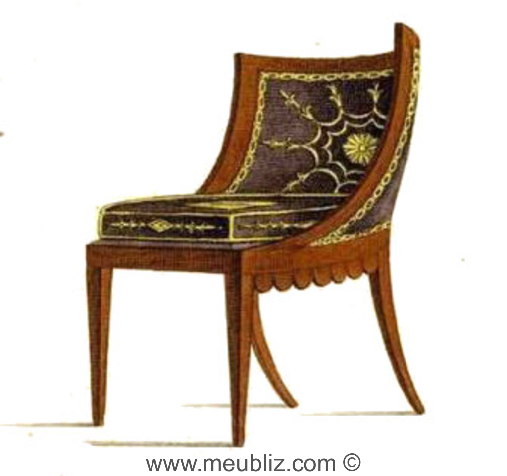 chaise gondole empire garnie meuble de style. Black Bedroom Furniture Sets. Home Design Ideas