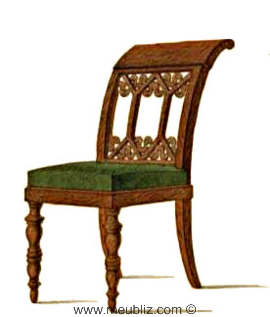chaise directoire dossier en crosse et motifs ajour s meuble de style. Black Bedroom Furniture Sets. Home Design Ideas