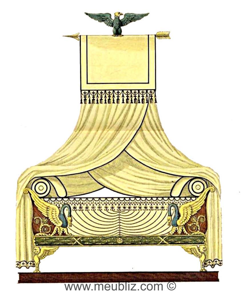 lit empire montant en cygne meuble de style. Black Bedroom Furniture Sets. Home Design Ideas