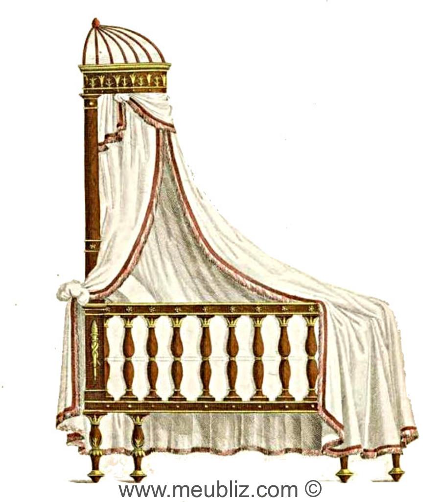 lit d 39 ange d 39 enfant directoire balustre et dais meuble de style. Black Bedroom Furniture Sets. Home Design Ideas