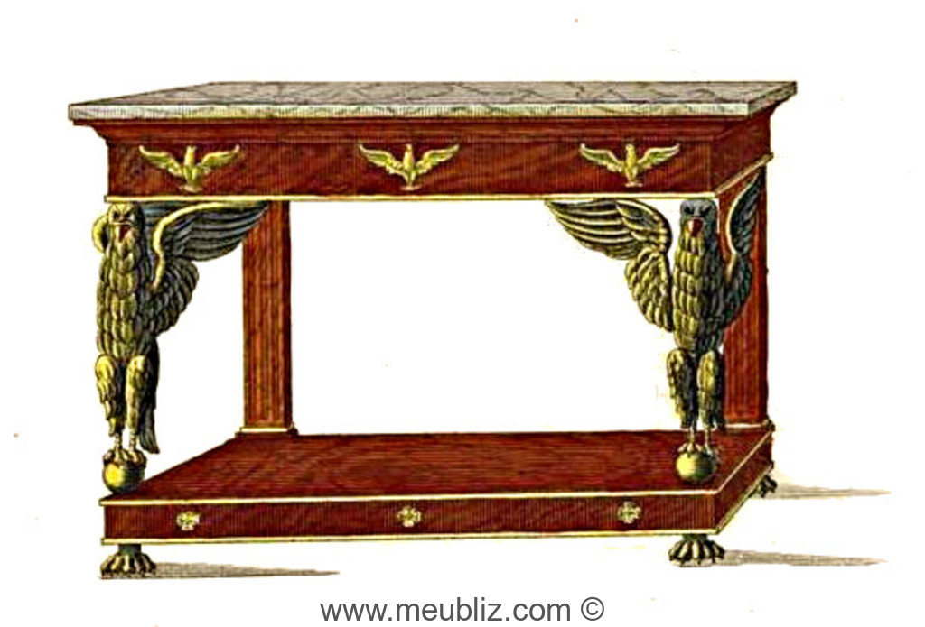 table console empire retour d 39 egypte sur socle meuble de style. Black Bedroom Furniture Sets. Home Design Ideas