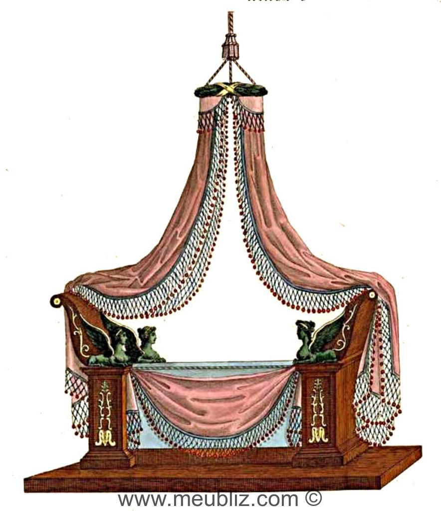 lit empire montant en flasques sur pilastres meuble de style. Black Bedroom Furniture Sets. Home Design Ideas