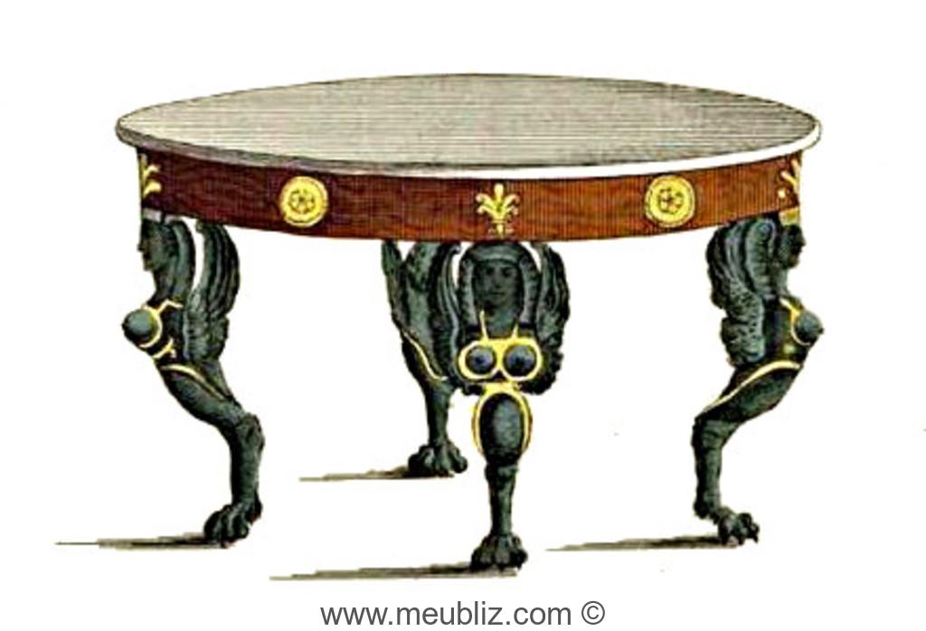 Table de salon ronde Empire à pieds de style Retour d\'Egypte ...