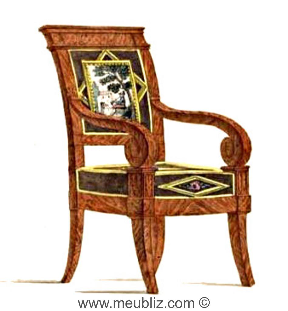 fauteuil restauration louis philippe bras en crosse et pieds en sabre meuble de style. Black Bedroom Furniture Sets. Home Design Ideas