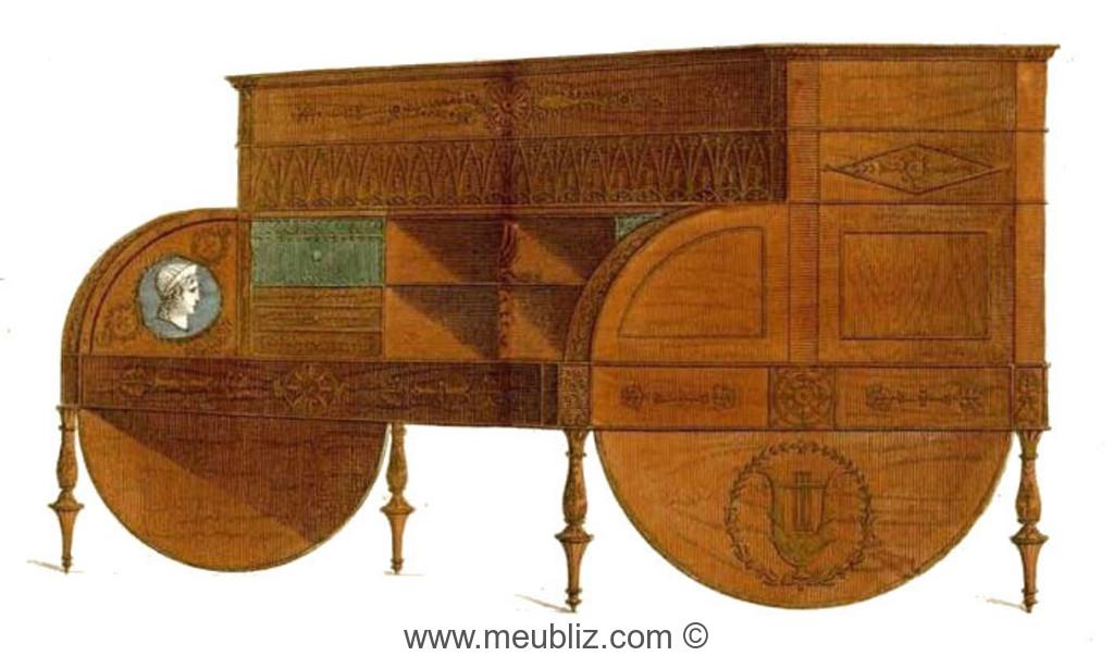Bureau Directoire cylindre et tiroirs en gradin Meuble de style
