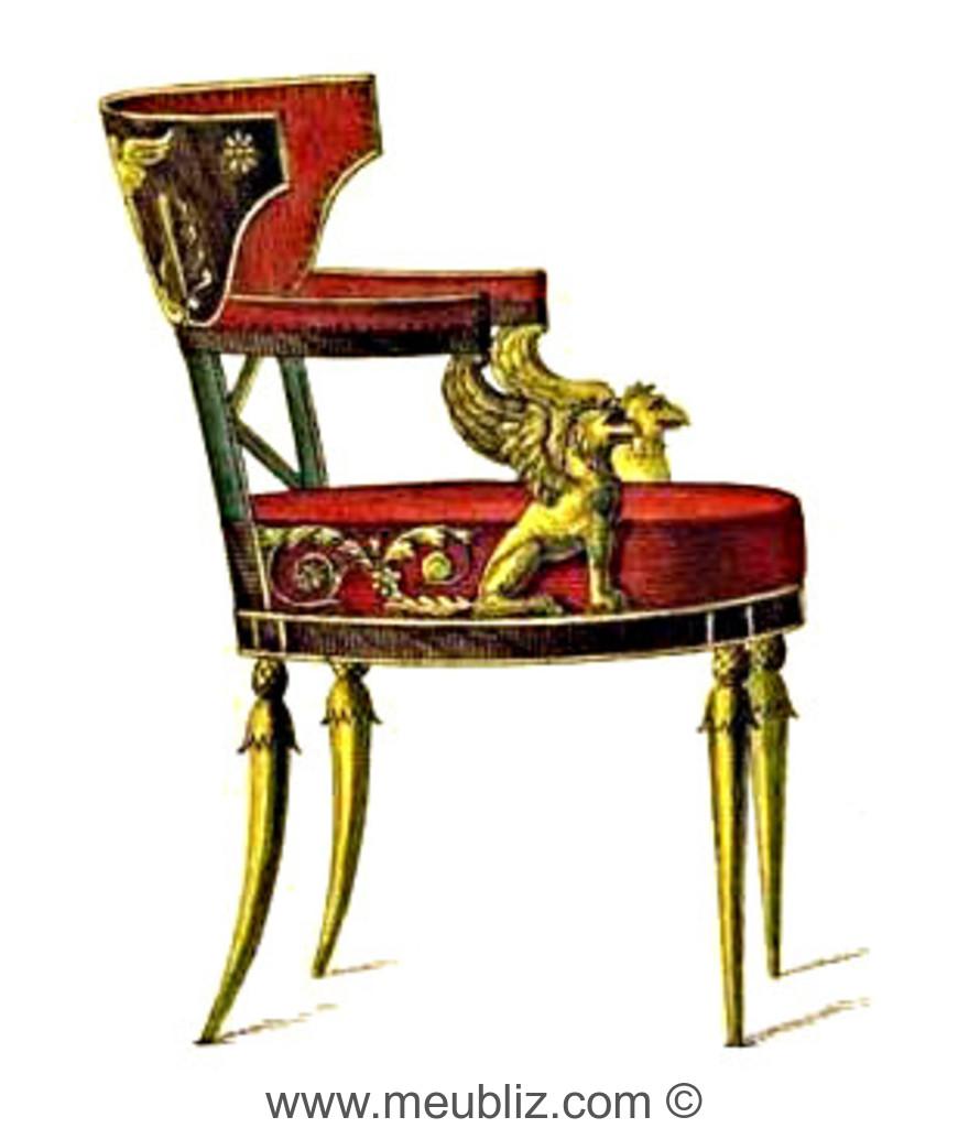 fauteuil directoire bandeau de dossier en h micycle et sculptures l 39 antique meuble de style. Black Bedroom Furniture Sets. Home Design Ideas