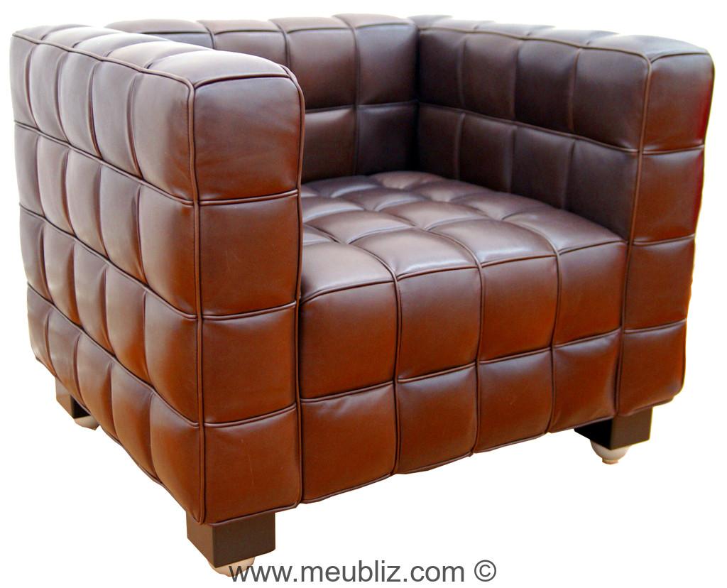fauteuil kubus un cube en cuir de qualit par josef hoffmann meuble design. Black Bedroom Furniture Sets. Home Design Ideas