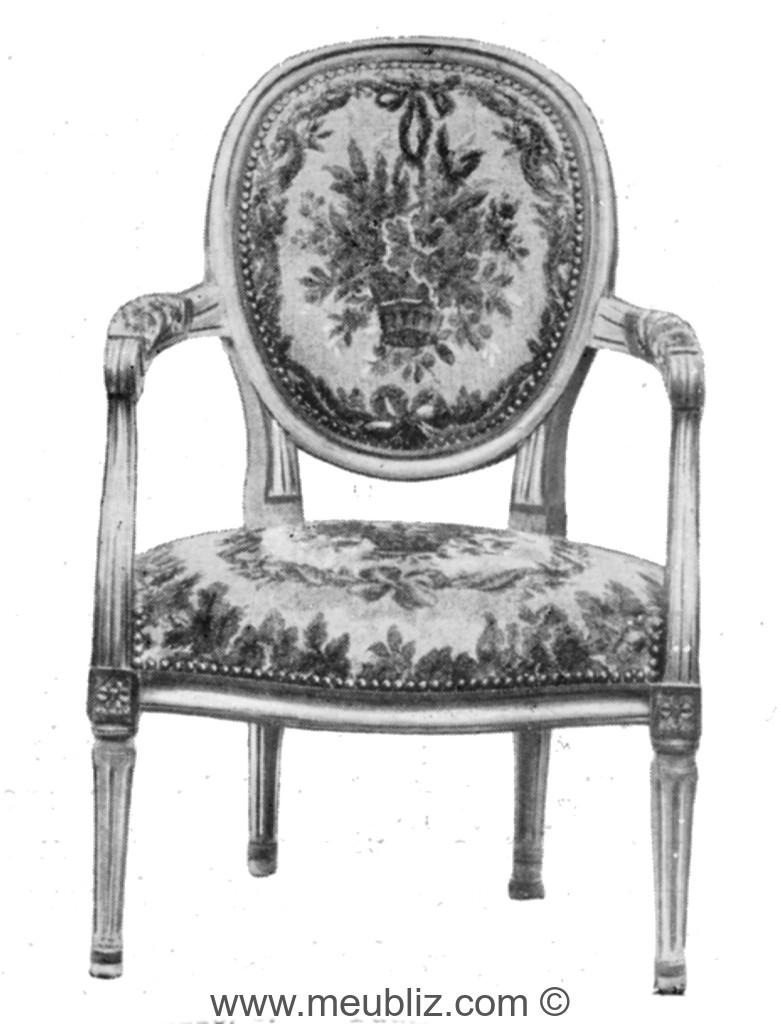 fauteuil cabriolet louis xvi dossier m daillon tapiss meuble de style. Black Bedroom Furniture Sets. Home Design Ideas
