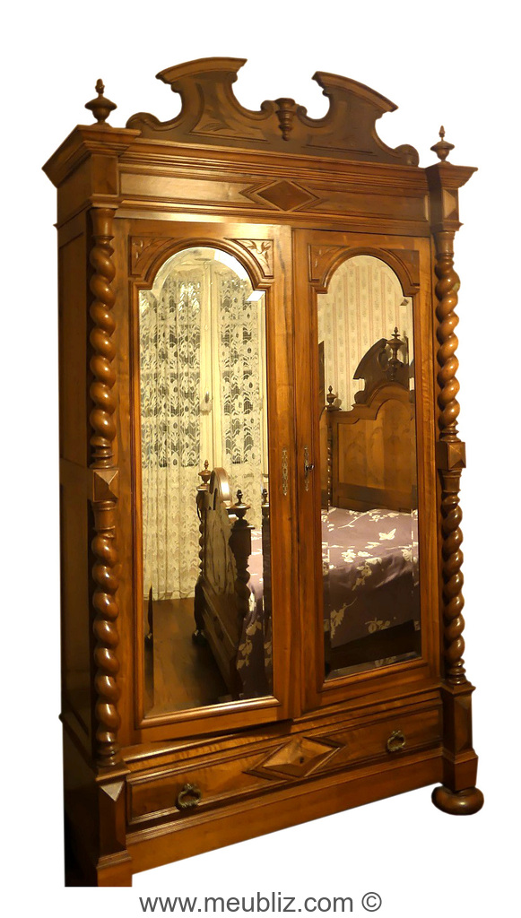 armoire glace henri ii deux portes meuble de style. Black Bedroom Furniture Sets. Home Design Ideas