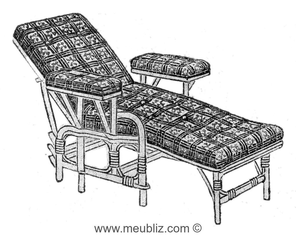 Chaise Longue En Rotin Avec Garniture Dassise De Dossier Et Daccoudoir
