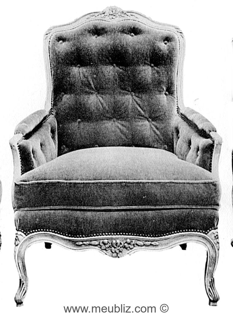 meuble fauteuil bergere louis xv dossier capitonne