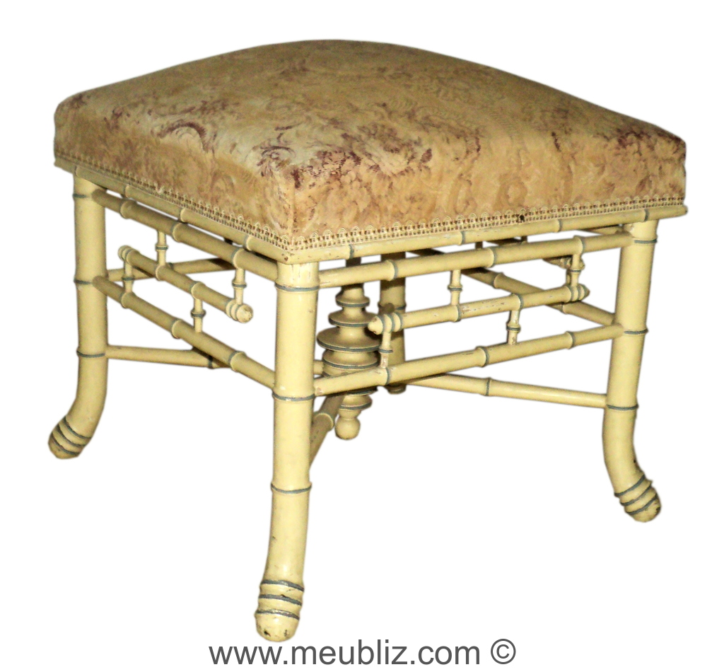 tabouret de pied napol on iii pi tement bambou meuble de style. Black Bedroom Furniture Sets. Home Design Ideas