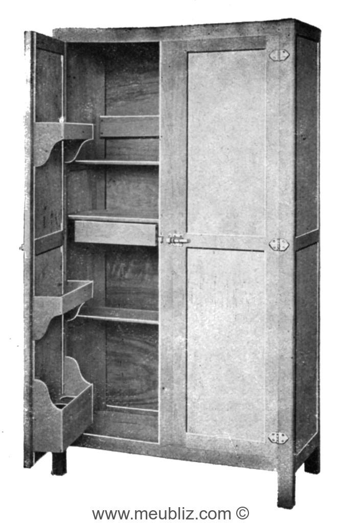 Armoire de cuisine classique double portes à rangements - Meuble ...