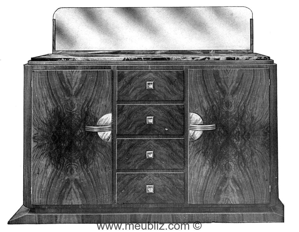 grand buffet bas art dco 1930 deux porte et tiroirs centraux sur socle en