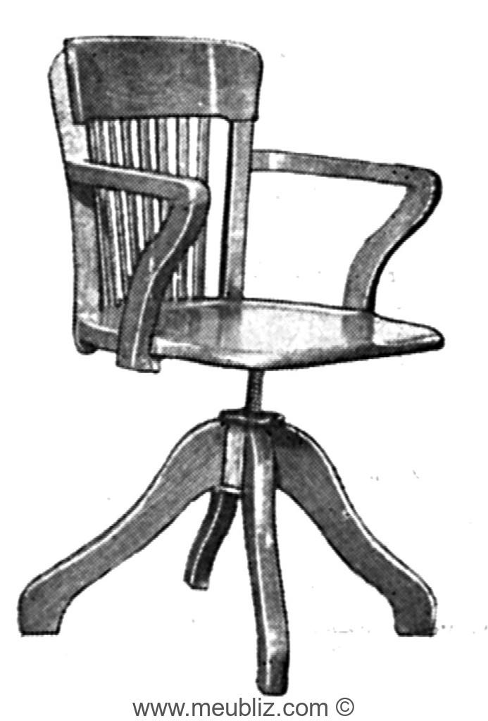 fauteuil de bureau am ricain tournant en bois pieds quadripode et dossier barreaux meuble. Black Bedroom Furniture Sets. Home Design Ideas