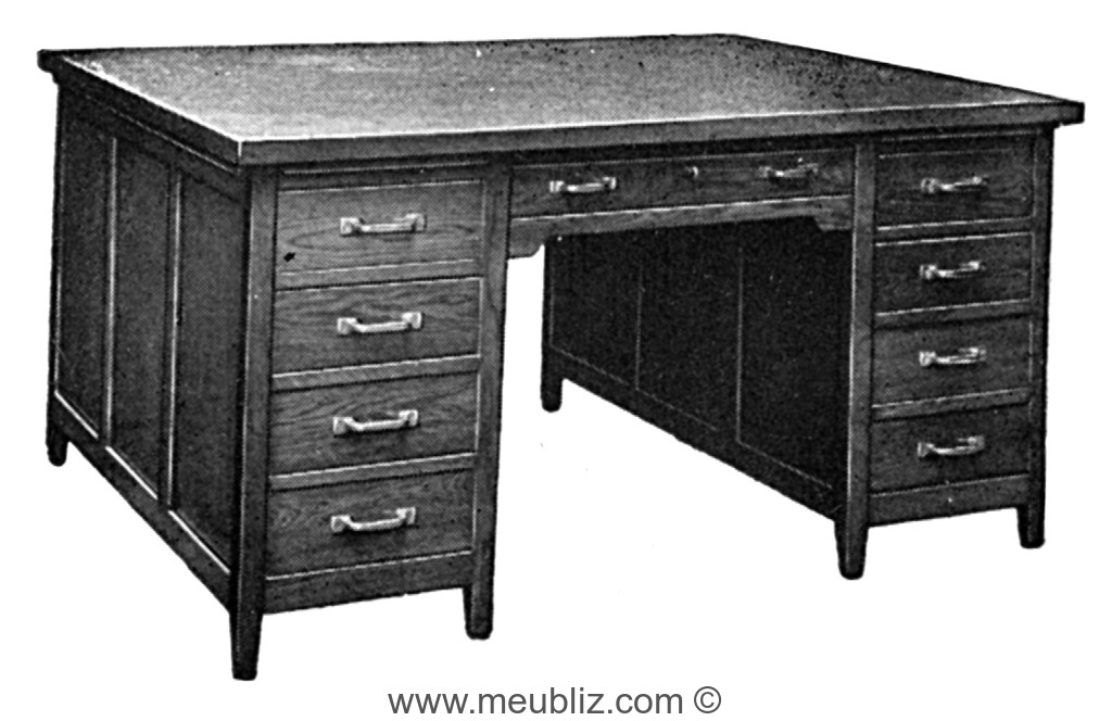 bureau ministre ouvert double face caissons tiroirs. Black Bedroom Furniture Sets. Home Design Ideas
