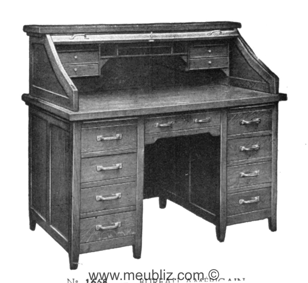 bureau am ricain rideau meuble classique. Black Bedroom Furniture Sets. Home Design Ideas