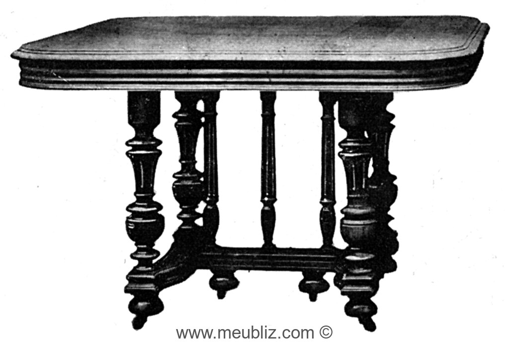 table henri ii n o renaissance carr e allonges avec pi tement en galerie de balustres meuble. Black Bedroom Furniture Sets. Home Design Ideas