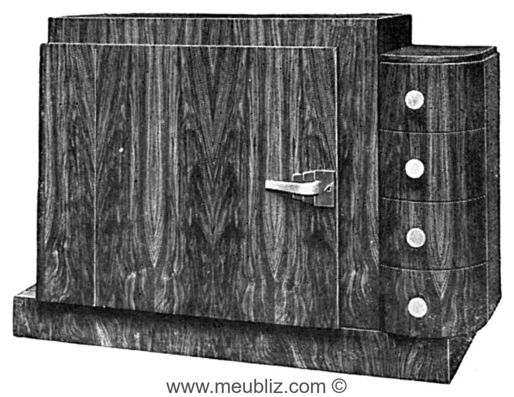 meuble d 39 appui une porte en placage de bois exotique sur socle meuble de style. Black Bedroom Furniture Sets. Home Design Ideas
