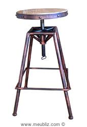 Tabouret de bar industriel à vis et assise ronde