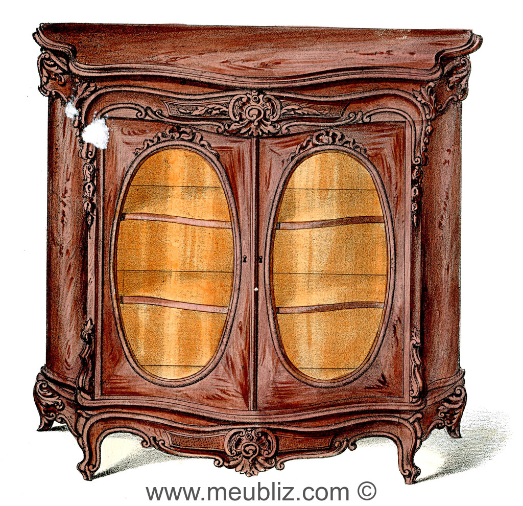biblioth que basse louis xv double portes vitr es meuble de style. Black Bedroom Furniture Sets. Home Design Ideas