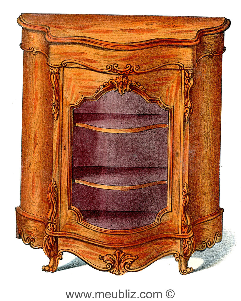 biblioth que basse louis xv simple porte vitr e meuble de style. Black Bedroom Furniture Sets. Home Design Ideas