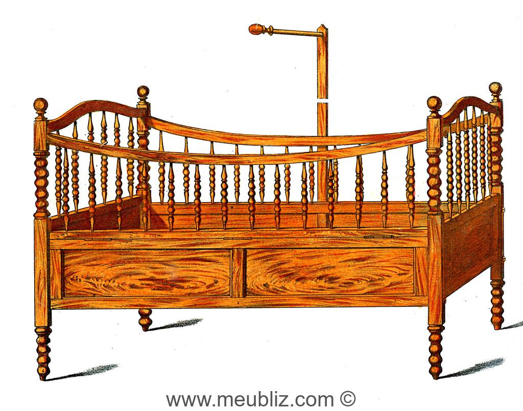 lit d 39 enfant napol on iii montants tourn s en fuseaux et chapelets meuble de style. Black Bedroom Furniture Sets. Home Design Ideas