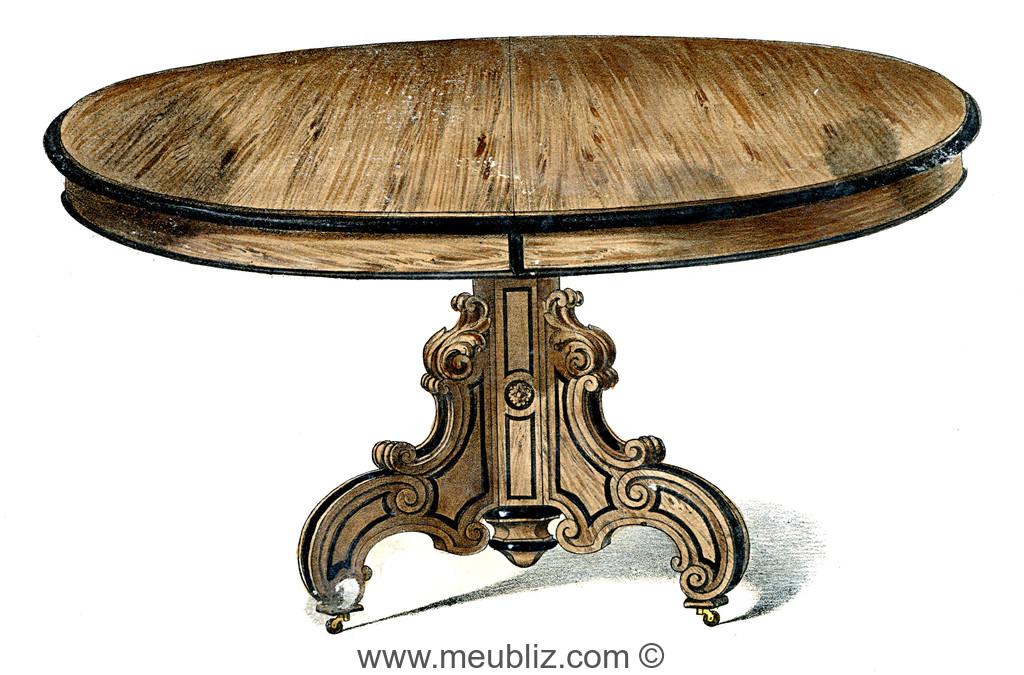 Grande table ronde Napoléon III sur pied central en bois massif