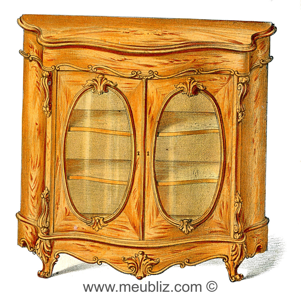 biblioth que basse louis xv double portes vitr es meuble de style. Black Bedroom Furniture Sets. Home Design Ideas